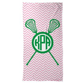 Lacrosse Beach Towel Monogram with Crossed Sticks and Chevron