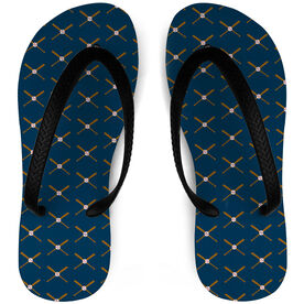 Baseball Flip Flops Crossed Bats Pattern