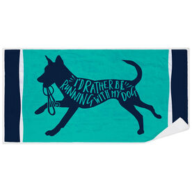 Running Premium Beach Towel - I'd Rather Be Running With My Dog