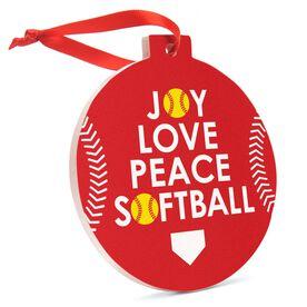 Softball Round Ceramic Ornament - Joy love Peace