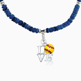 Natural SportBEAD Adjustable Necklace - Love Softball Charm