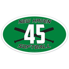 Softball Oval Car Magnet Team Name and Number