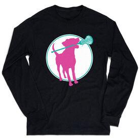 Girls Lacrosse Tshirt Long Sleeve - Lacrosse Dog with Girl Stick