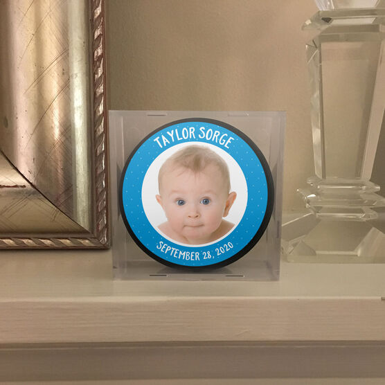 Personalized Hockey Puck - Baby Boy Photo with Text