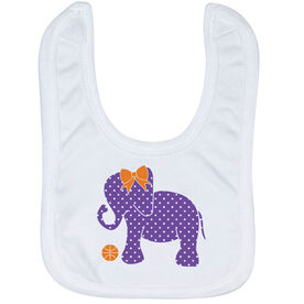 Basketball Baby Bib - Basketball Elephant with Bow