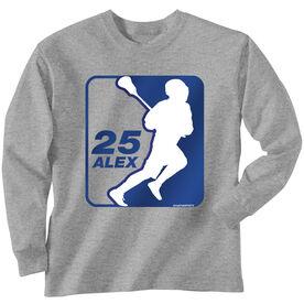 Guys Lacrosse Long Sleeve T-Shirt - Personalized Lacrosse Silhouette