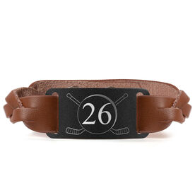 Hockey Leather Bracelet with Engraved Plate - Number with Crossed Sticks