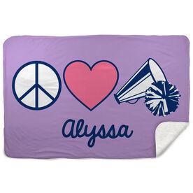 Cheerleading Sherpa Fleece Blanket - Personalized Peace Love Cheer
