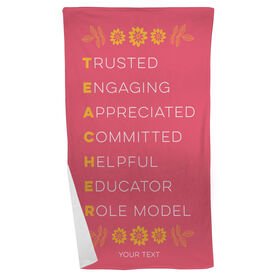 Personalized Beach Towel - Teacher Words
