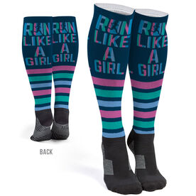 Running Printed Knee-High Socks - Let's Run Like A Girl