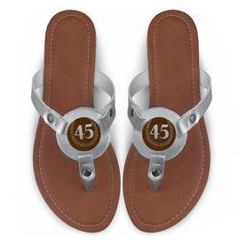 Softball Engraved Thong Sandal Softball with Your Number
