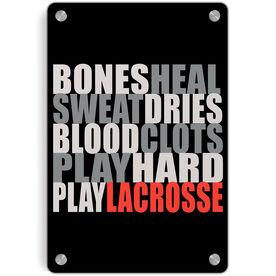 Guys Lacrosse Metal Wall Art Panel - Bones Saying