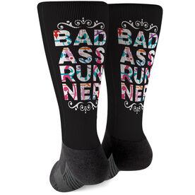 Running Printed Mid-Calf Socks - Bad Ass Runner