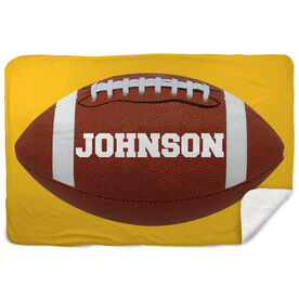 Football Sherpa Fleece Blanket Personalized Big Name