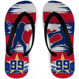 Softball Flip Flops Personalized Patriotic