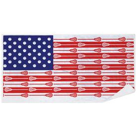 Guys Lacrosse Premium Beach Towel - USA Stick Flag