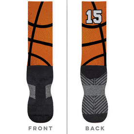 Basketball Printed Mid-Calf Socks - Big Number