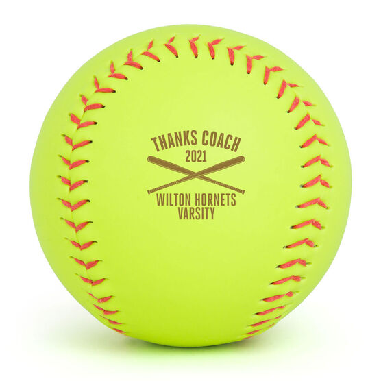 Personalized Engraved Softball - Thanks Coach