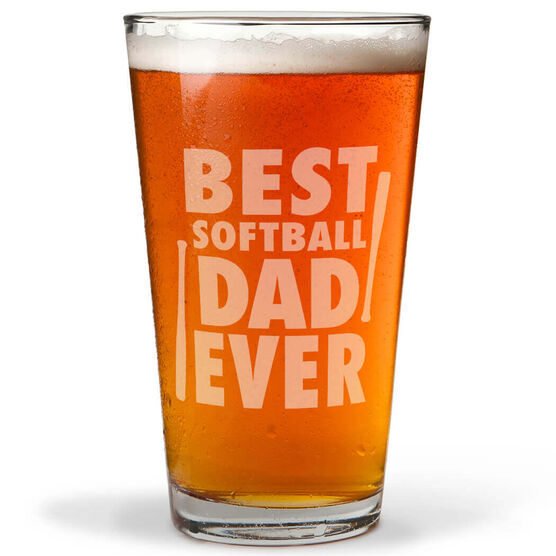 16 oz. Beer Pint Glass Best Softball Dad Ever