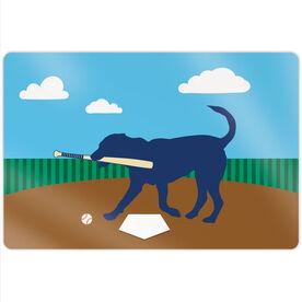 "Baseball 18"" X 12"" Aluminum Room Sign - Buddy The Baseball Dog"