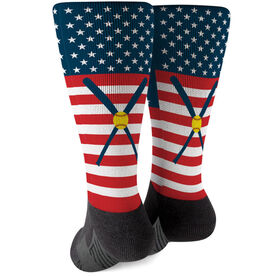 Softball Printed Mid-Calf Socks - USA Stars And Stripes