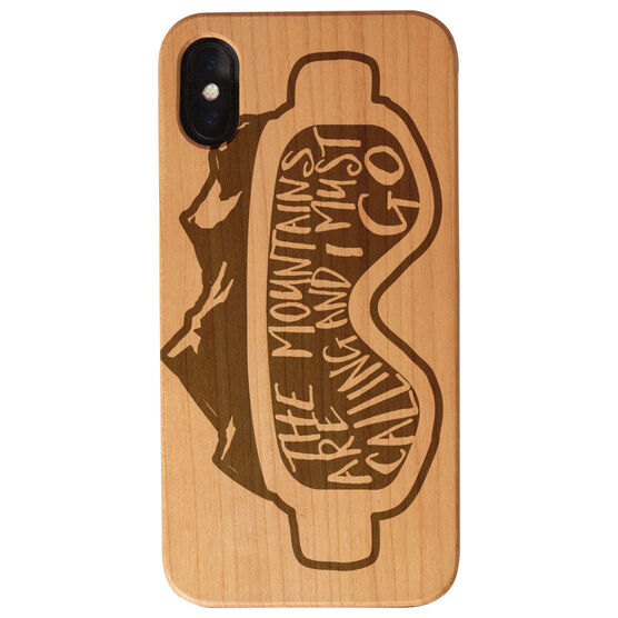 Skiing and Snowboarding Engraved Wood IPhone® Case - The Mountains Are Calling Goggles
