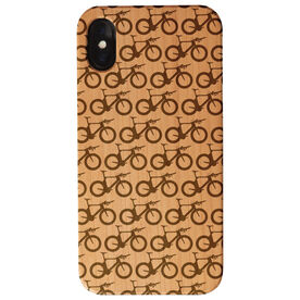 Triathlon Engraved Wood IPhone® Case - Bike Pattern