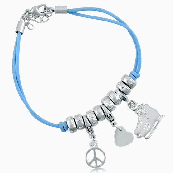 Peace Love Figure Skate Charm Bracelet