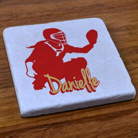 Softball Stone Coaster Personalized Softball Catcher