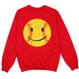 Softball Crew Neck Sweatshirt - Softball Smiley
