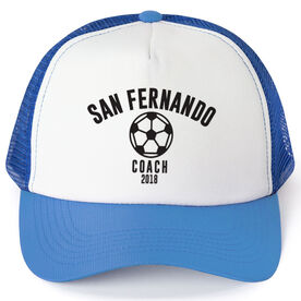 Soccer Trucker Hat - Team Name Coach With Curved Text