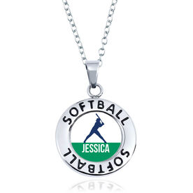 Softball Circle Necklace - Batter Silhouette With Name
