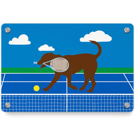 Tennis Metal Wall Art Panel - Dennis The Tennis Dog
