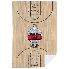 Basketball Premium Blanket - Personalized Court With Logo