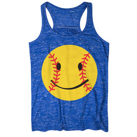 Softball Flowy Racerback Tank Top - Softball Smiley Yellow Black Red