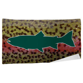 Fly Fishing Beach Towel Rainbow Trout with Silhouette