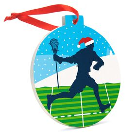 Guys Lacrosse Round Ceramic Ornament - Player Silhouette with Santa Hat