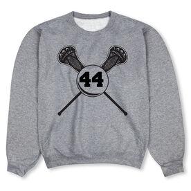 Guys Lacrosse Crew Neck Sweatshirt - Personalized Lacrosse Sticks Number