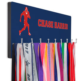 Football Hooked on Medals Hanger - Personalized Text With Running Back