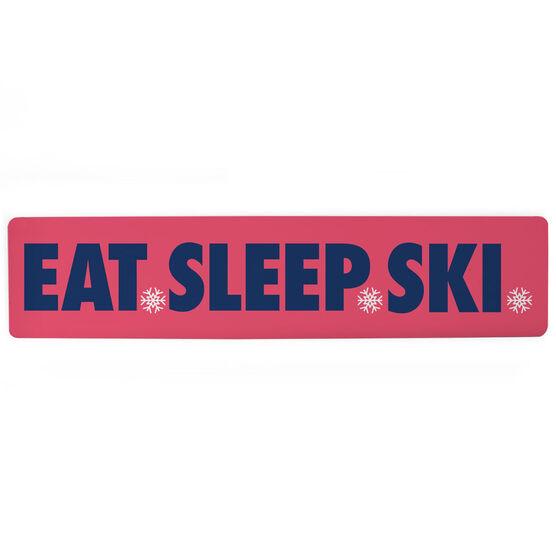 """Skiing Aluminum Room Sign - Eat Sleep Ski (4""""x18"""")"""