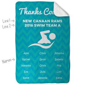 Swimming Sherpa Fleece Blanket Personalized Thanks Coach Chevron