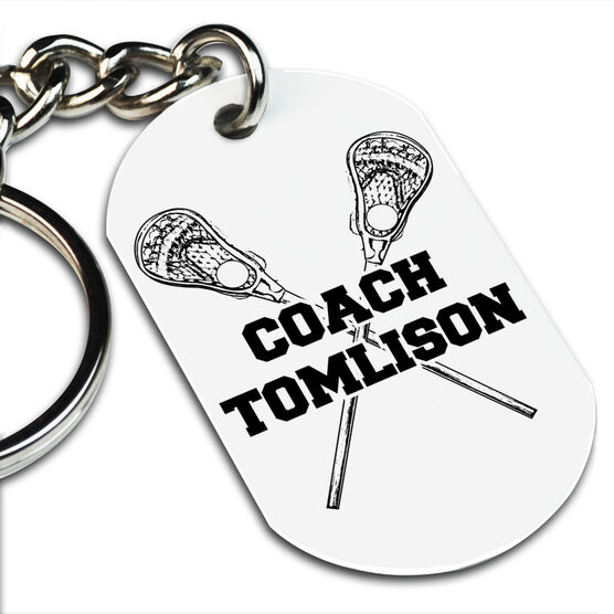 Lacrosse Printed Dog Tag Keychain Personalized Coach