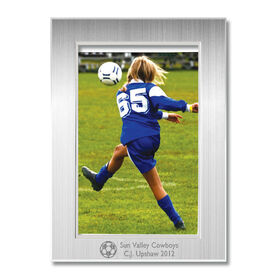 Engraved Soccer Frame Silver 4 x 6 with Soccer Icon