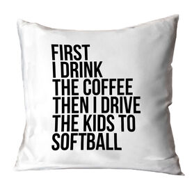 Softball Throw Pillow - Then I Drive The Kids To Softball