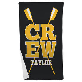 Crew Beach Towel Personalized with Crossed Oars