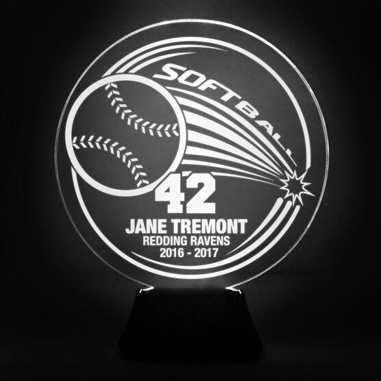 Softball Acrylic LED Lamp Home Run With 3 Lines and Number