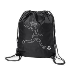Soccer Sport Pack Cinch Sack - Soccer Girl Player Sketch