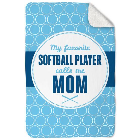 Softball Sherpa Fleece Blanket - My Favorite Player