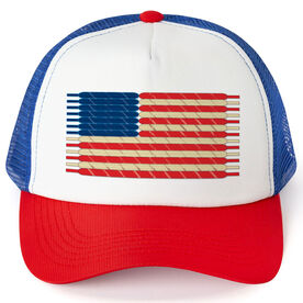 Hockey Trucker Hat Laces Flag