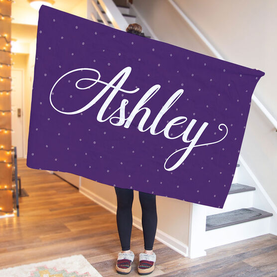 Personalized Premium Blanket - Scripted Name with Pattern